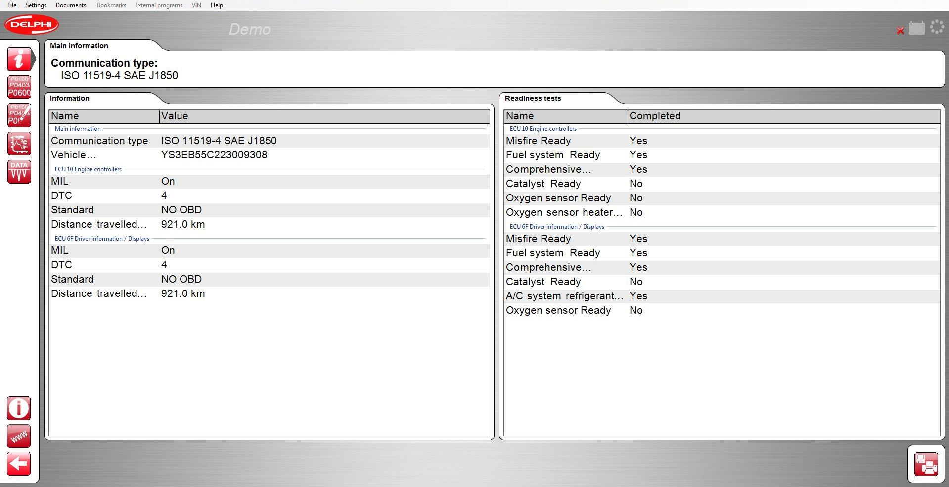 OBD function screen shot