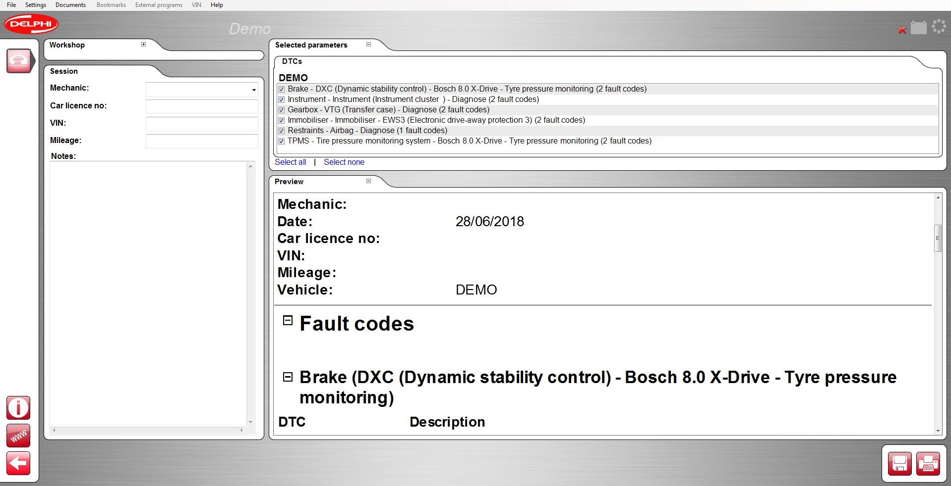 Car software report function