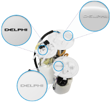 Fuel pump module assembly with Delphi Technologies logo