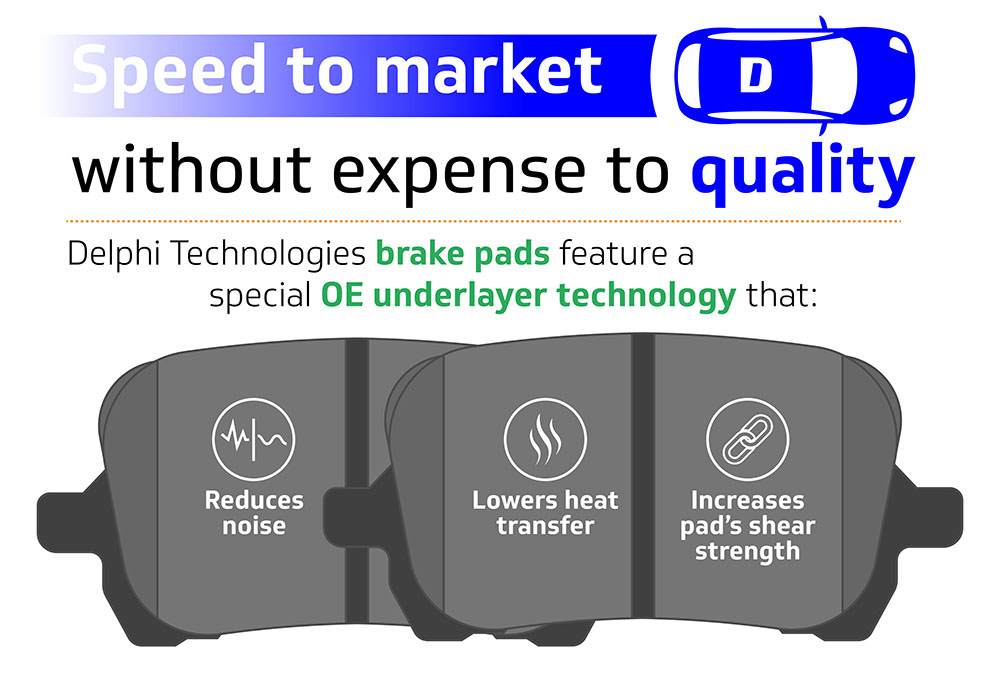 Inforgraphic showing Delphi Technologies brake pads feature a special OE underlayer technology