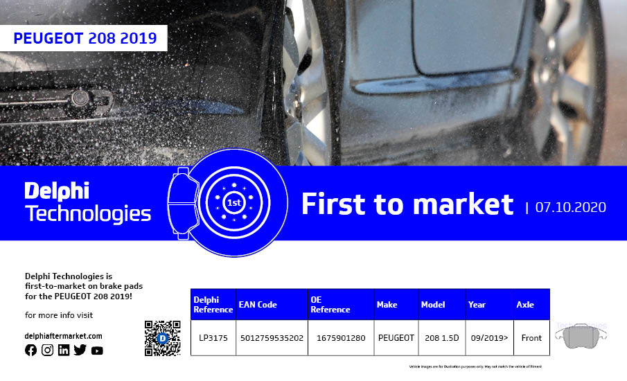 Information on first to market brake pad for 2019 Peugeot 208
