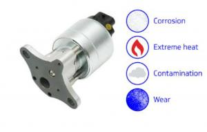 EGR valve with four examples of harsh environment - corrosion, extreme heat, contamination and wear.