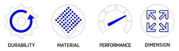 Test icons durability materials performance dimensions