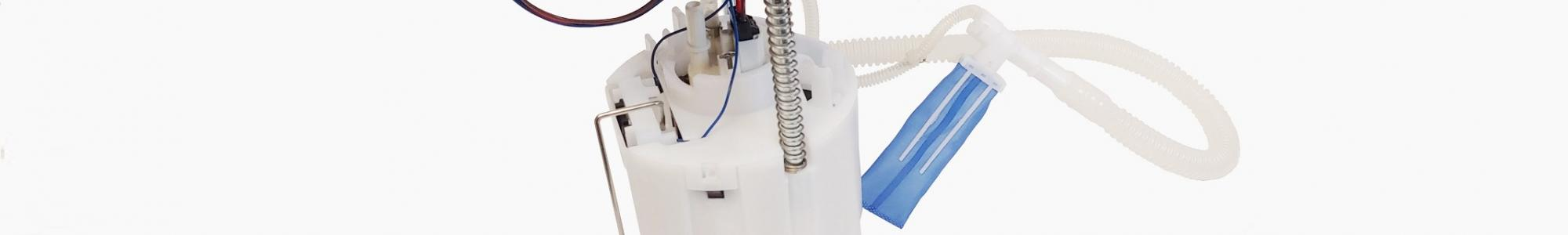 Enhanced fuel pump delivery module from Delphi Technologies with blue plastic top and blue strainer